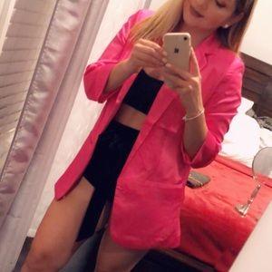 🌸collar satin pink boyfriend blazer🌸